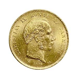 20 крон 1876 год.Кристиан IX.Дания.Золото.