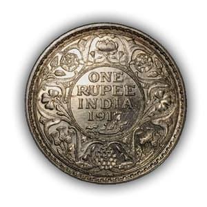 """1 рупия 1917 год """"Король Георг V"""".Британская Индия.Серебро."""