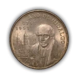 5 песо 1953 год.200 летие Мигеля Илальго.Мексика.Серебро.