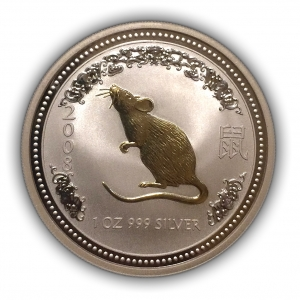 "1 доллар 2007 год ""Год крысы.Мышь"".Австралия.Proof.Серебро."