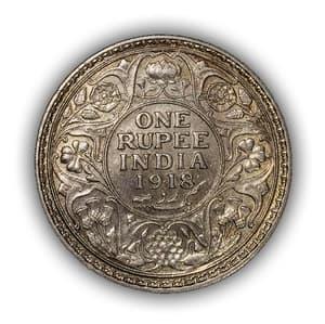 """1 рупия 1918 год """"Король Георг V"""".Британская Индия.Серебро.(2)."""