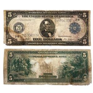 Банкнота 5 долларов 1914 год.США.Серия 2-b.А.