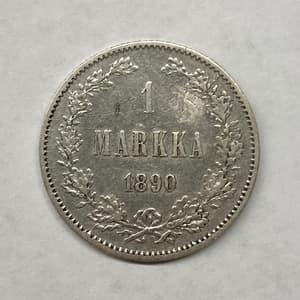 1 марка 1890 год L.Александр III.Русская Финляндия.Серебро.