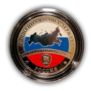 Жетон лмд «Карта России».Гознак.Серебро 925 проба.PROOF.Цветная эмаль.