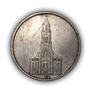 5 рейхсмарок 1934 год J.Кирха.3 рейх.Серебро.