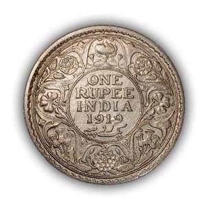 """1 рупия 1919 год """"Король Георг V"""".Британская Индия.Серебро."""