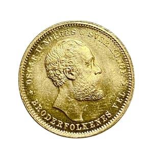 20 крон 1875 год.Оскар II.Норвегия.Золото.