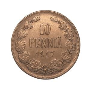 10 пенни 1917 год.Николай II.Русская Финляндия.Медь.AU.