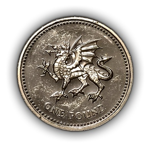 1 фунт 2000 год.Дракон.Елизавета 2.Великобритания.Серебро.PROOF.