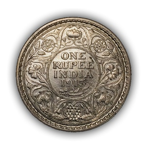 """1 рупия 1913 год """"Король Георг V"""".Британская Индия.Серебро.(2)."""