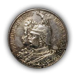 """2 марки 1901 год """"200 лет Пруссии 1701-1901.Пруссия(Германская империя).Серебро."""