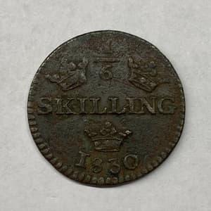 1/6 скиллинга (шиллинга) 1830 год.Медь.Швеция.