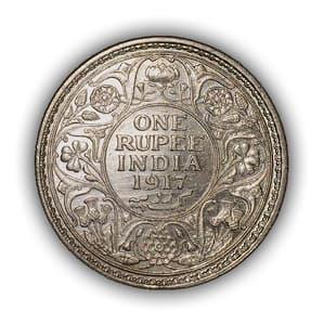 """1 рупия 1917 год """"Король Георг V"""".Британская Индия.Серебро.(2)."""