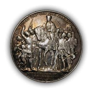 """2 марки 1913 год """"100 летие Победы над Наполеоном.Король Фатерлянд.Пруссия(Германия).Серебро."""