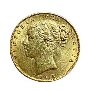 1 соверен 1871 год.Австралийский соверен.Австралия.Золото.
