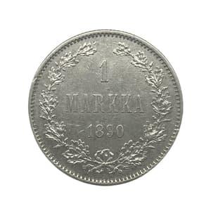 1 марка 1890 год L.Александр III.Русская Финляндия.Серебро.(2).