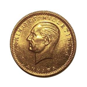100 куруш 1985 год.Турция.Золото 917 пробы.