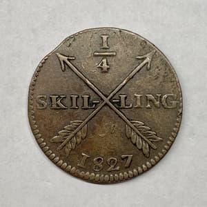 1/2 скиллинга (шиллинга) 1827 год.Медь.Швеция.