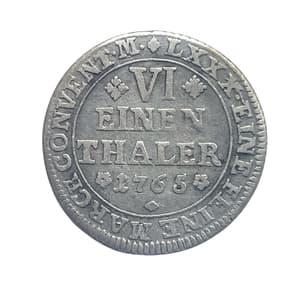 1/6 талера 1765 год.Брауншвейг-Вольфенбюттель.Германия.Серебро.