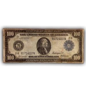 100 долларов 1914 год B.Франклин.Банкнота США