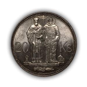 20 крон 1941 год.Оккупация Германией.Словакия.Серебро.