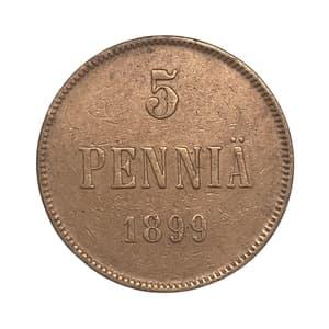 5 пенни 1899 год.Николай II.Русская Финляндия.Медь.