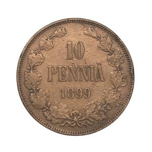 10 пенни 1899 год.Николай II.Русская Финляндия.Медь.