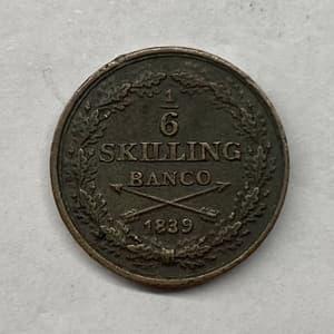 1/6 скиллинга (шиллинга) банко 1839 год.Медь.Швеция.