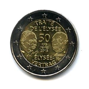 """2 евро 2013 год """"50 лет Елисейскому Договору"""".Франция"""