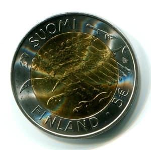 """5 евро 2005 г. """"90 лет Независимости"""".Финляндия"""